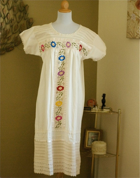 Vintage 80's Gauze Crochet Hippie Baby Doll Dress S