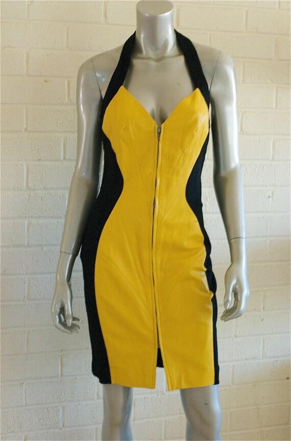 90s VTG Black Yellow Leather Karen Okada for David Howard Dress M