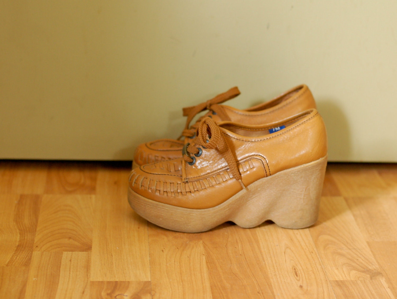 70 S Vtg Hi There Famolare Platform Wedge Shoes 7m