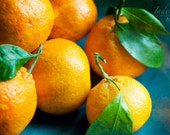 Oranges Still Life food photo - Satsumas, citrus fruit, tabletop photography, orange, green and blue - 8x12
