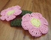 Girls Hair Clips, Flower Hair Clips, Crochet Hair Accessories, Gift for Girls, Medium Size Clips, Leaf Green with Yellow and Pink Flowers