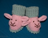 Custom Order  Reserved for Reneescollectibles- Pink and Sage Lamb Baby Booties