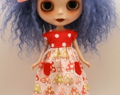 dolly molly MUSHROOMS babydoll dress with pockets dots for BLYTHE doll