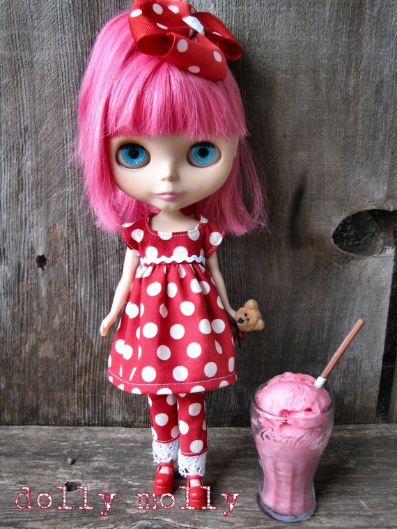 dolly molly SODA SHOP 3 piece polka dots on red set dress pants and bow for BLYTHE doll