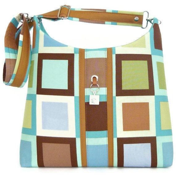 Purse Tote Hobo Bag with adjustable strap - Neutral Shades Contemporary Squares Meera Twisted