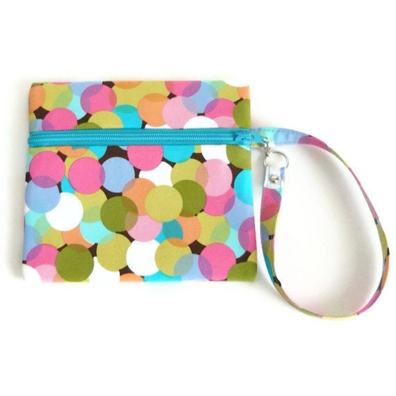 Wristlet Pouch Credit Card Case - Lay Flat Zippered Closure - Cute Bubble Blast