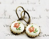 Vintage pink rose cameo earrings shabby and chic romantic petite dangle floral antique brass finish sage peach bridesmaid gift bridal