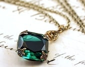 Emerald jewel necklace brass mayfair vintage style green gem crystal May birthstone