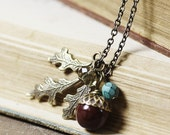 Autumn necklace acorn oak leaf brass teal grey brown vintage style fall jewelry antique victorian