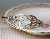 Art nouveau bridal headband brass vintage jewel pastel wedding hair accessory vintage bride