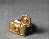 Camera ring vintage style brass retro