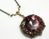 Amethyst jewel necklace victorian brass purple estate style
