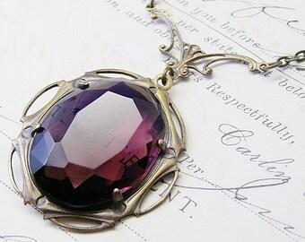 Amethyst jewel necklace vintage brass art nouveau antique purple