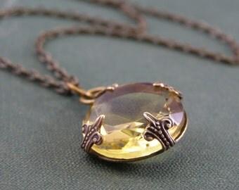 Lemon yellow citrine jewel necklace victorian brass vintage glass gem crystal November birthstone