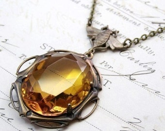 Bee necklace crystal jewel amber art nouveau honey gem antique style vintage brass citrine glass November birthstone