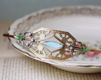 Art nouveau bridal headband brass jewel pastel wedding hair accessory vintage bride crystal rhinestone art deco head piece 1920's style