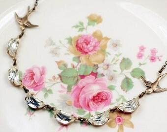 Crystal bridal necklace vintage style brass scalloped jewel rhinestone scallops swallow bird wedding jewelry