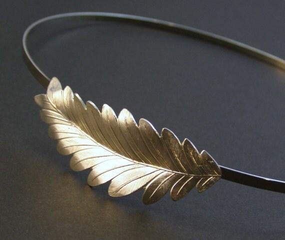 Leaf headband Grecian goddess silver
