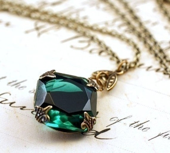 Emerald jewel necklace brass mayfair vintage style green gem crystal May birthstone