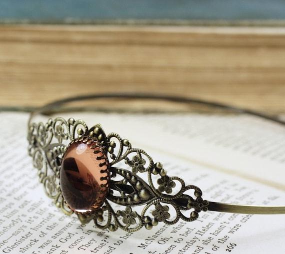 Pink filigree headband jewel cabochon brass vintage antique  style blush bridal wedding hair accessory