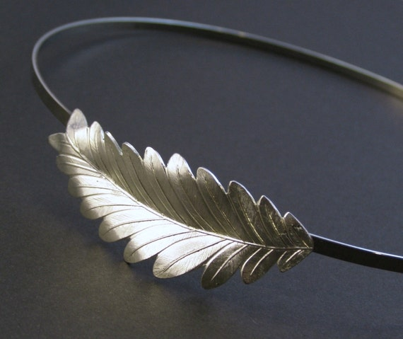 Leaf headband bridal laurel grecian goddess silver finish neoclassical regency wedding hair accessory bridesmaid