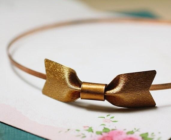 Bow headband vintage retro copper 50's style art deco