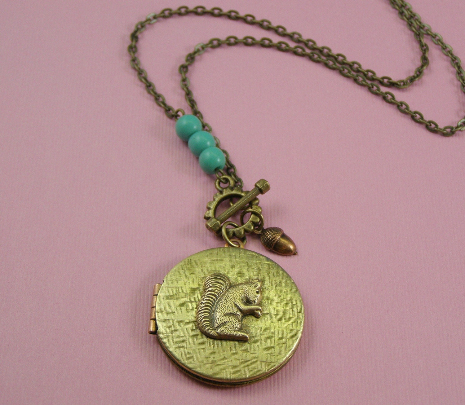 squirrel locket necklace by mylavaliere on etsy