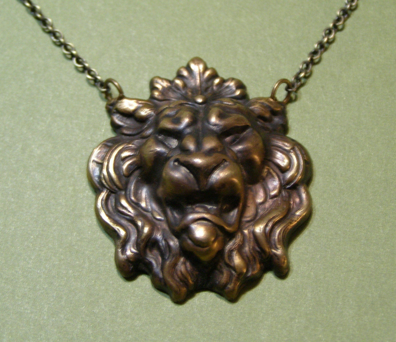 Lion Necklace Antique Brass By Mylavaliere On Etsy
