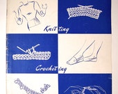 3 Vintage Instruction Booklets for Knitting, Crocheting - DIY - Knit Crochet or Tatting - Girl Scout Brochure - 1948 1949 - Wool Care