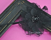 Olivia Flower Headband - Black Shabby Chic Flower with Sequins - Baby Headband to Adult Headband - SPRING SALE - See Shop