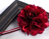 Charlotte Flower Headband - Dark Burgundy Red Satin and Tulle Flower - Baby Headband to Adult Headband - SPRING SALE - See Shop