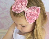 Mia Rose Flower Taffeta Bow Luxe Headband - Soft Pink Rose - Soft Stretch or Metal - Baby Headband to Adult Headband