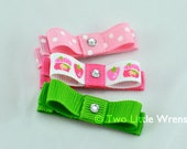 Ribbon Hair Clips - Little Strawberry Girl Set - Set of Three Coordinating Strawberry Girl Clippies with Swarovski Crystals