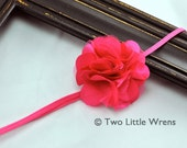 Petite Charlotte Flower Headband - Shocking Hot Pink Mini Satin and Tulle Flower - Baby Headband to Adult Headband - SPRING SALE - See Shop
