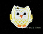 Felt Owl Hair Clip - Who Who Whoo Loves Owls - White and Sunny Yellow Owl Barrette with Swarovski Crystal - Baby Hair Clip to Adut Hair Clip