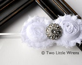 Zoe Luxe Flower Headband - White Flowers with Jewel Center - Baby Headband to Adult Headband - SPRING SALE - See Shop