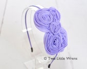 Chelsea Bow Headband - Lavender Purple Shabby Chic Bow with Thin Metal Headband - Girl Headband to Adult Headband - SPRING SALE - See Shop