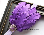 Eva Soft Feather Headband - Purple and Lavender Feather Headband with Jeweled Accent - Baby Headband to Adult Headband