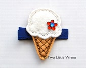 Patriotic Felt Ice Cream Cone Hair Clip - Red, White, and Blue Barrette with Swarovski Crystal - Baby Hair Clip to Adult Hair Clip