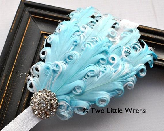 Eva Soft Feather Headband - Tiffany Blue and White Feather Headband with Jeweled Accent - Baby Headband to Adult Headband