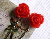 Rouge / Blood Red Rose Hairpins