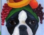 Boston terrier wearing fruit hat dog art magnet
