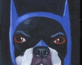 Boston Terrier Batman Hat Cute Dog Art Magnet