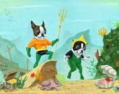 Aqua Terrier - Boston Terrier Dog Art