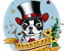 American Gentleman Tattoo - Boston Terrier Dog Art