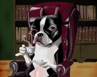 Boston Terrier Having a Spot of Tea
