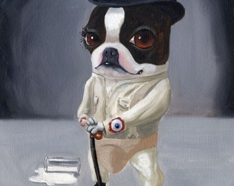 Clockwork Terrier - Boston Terrier dog art print