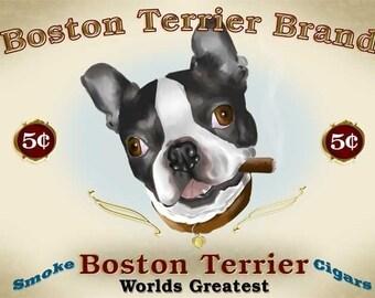 Boston Terrier Cigar Label