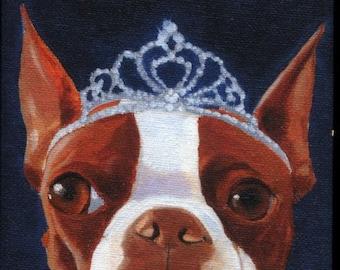Boston Terrier Tiera hat cute dog art magnet