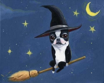 Boston Terrier Witch on a Broom - Dog art print